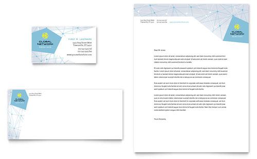 Global Network Services Business Card & Letterhead Template