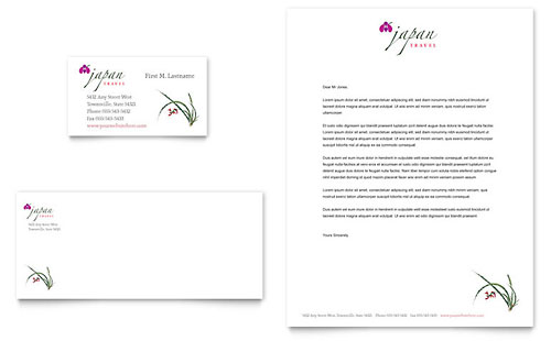 Japan Travel Business Card & Letterhead Template