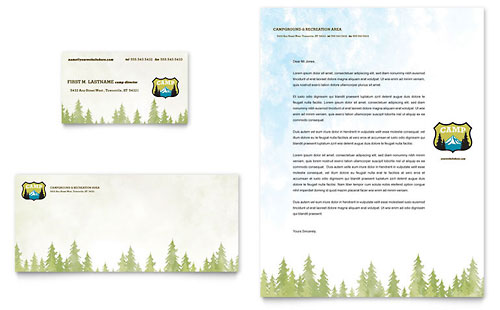 Nature Camping & Hiking Business Card & Letterhead Template
