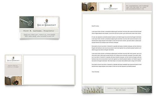 Bed & Breakfast Motel Business Card & Letterhead Template