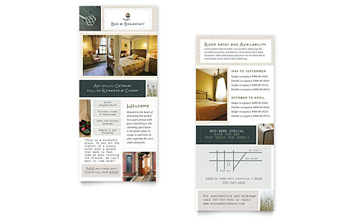 Bed & Breakfast Motel Rack Card Template