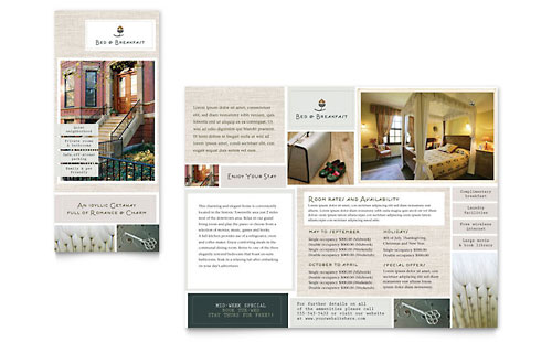Bed & Breakfast Motel Tri Fold Brochure Template