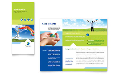 Green Living & Recycling Tri Fold Brochure Template