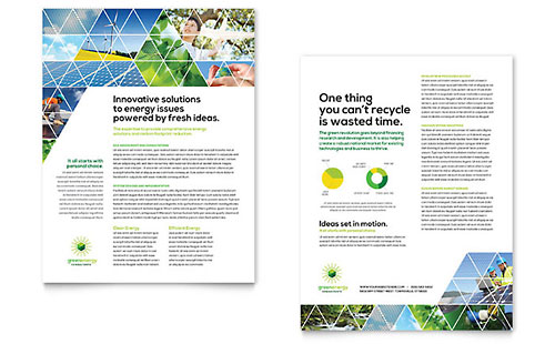 Green Energy Consultant Sales Sheet Template