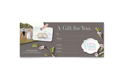 Wedding Planner Gift Certificate Template