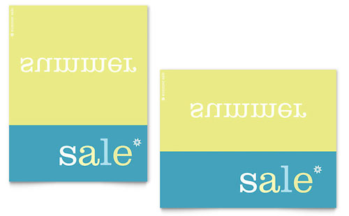 Inverse Upside Down Summer Sale Poster Template