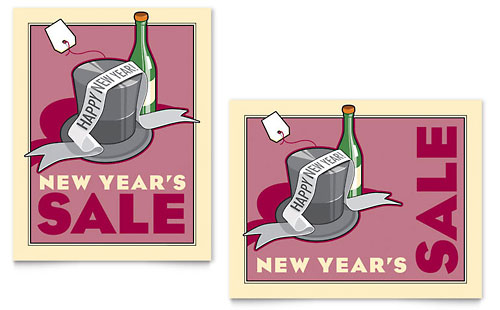 New Year's Champagne Sale Poster Template