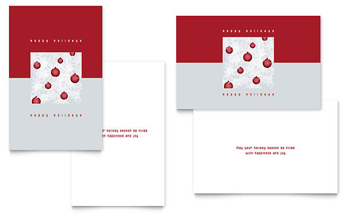 Red Ornaments Greeting Card Template