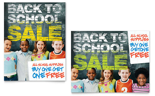 Back to School Sale Poster Template
