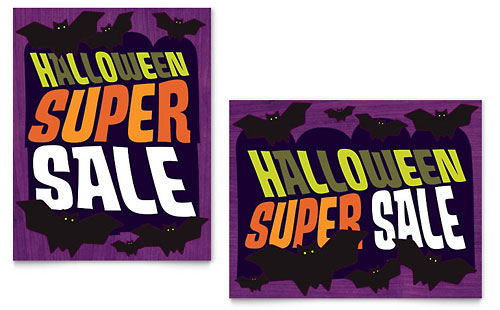 Halloween Bats Sale Poster Template