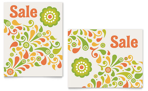 Spring Color Floral Sale Poster Template