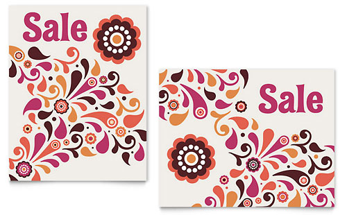 Fall Color Floral Sale Poster Template