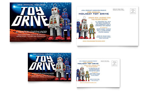 Holiday Toy Drive Fundraiser Postcard Template