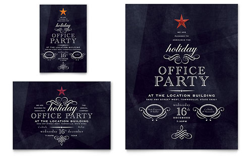 Office Holiday Party Flyer & Ad Template