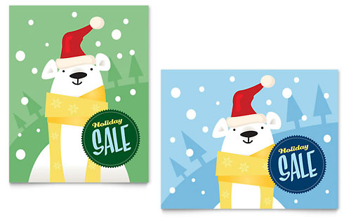 Santa Polar Bear Sale Poster Template