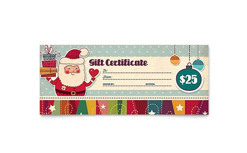 Retro Santa Gift Certificate Template