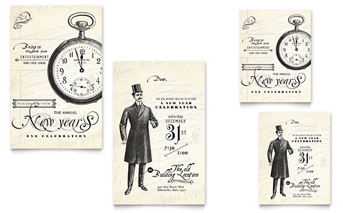Vintage New Year's Party Note Card Template