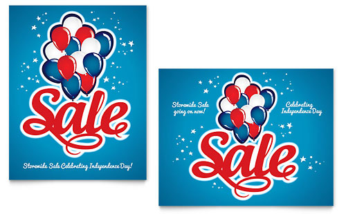 Celebration Balloons Sale Poster Template