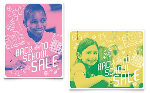 Back 2 School Sale Poster Template