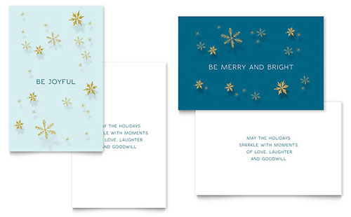 Golden Snowflakes Greeting Card Template