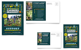 Farmers Market - Postcard Template Design Sample