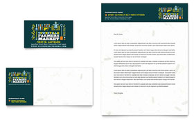 Farmers Market - Business Card & Letterhead Template Design Sample