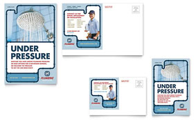 Plumbing Services - Postcard Template Design Sample