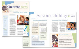 Child Care & Preschool - Newsletter Template Design Sample