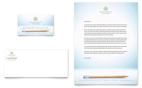 Academic Tutor & School - Business Card & Letterhead Template Design Sample