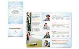 Academic Tutor & School - Tri Fold Brochure Template Design Sample