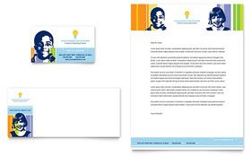 Learning Center & Elementary School - Business Card & Letterhead Template Design Sample