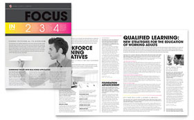Adult Education & Business School - Newsletter Template Design Sample