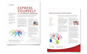 Language Learning - Sales Sheet Template Design Sample