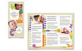 Kindergarten - Tri Fold Brochure Template Design Sample