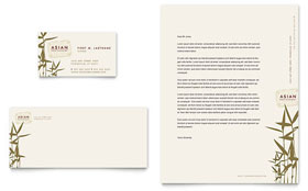 Asian Restaurant - Business Card & Letterhead Template Design Sample