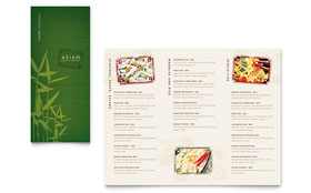 Asian Restaurant - Take-out Brochure Template Design Sample
