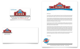 American Diner Restaurant - Business Card & Letterhead Template Design Sample