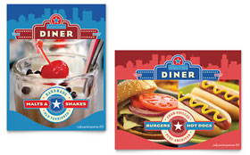 American Diner Restaurant - Poster Template Design Sample