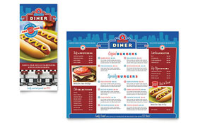 American Diner Restaurant - Take-out Brochure Template Design Sample
