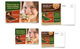 Pizza Pizzeria Restaurant - Postcard Template Design Sample