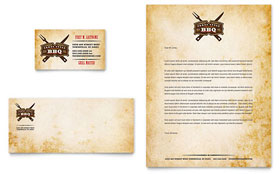 Steakhouse BBQ Restaurant - Business Card & Letterhead Template Design Sample