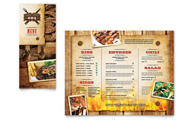 Steakhouse BBQ Restaurant - Take-out Brochure Template