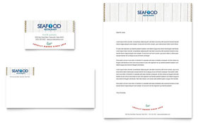 Seafood Restaurant - Business Card & Letterhead Template Design Sample