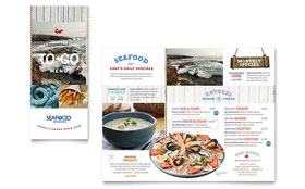 Seafood Restaurant - Take-out Brochure Template Design Sample