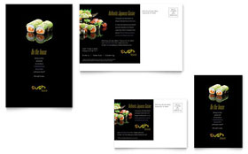 Sushi Restaurant - Postcard Template Design Sample
