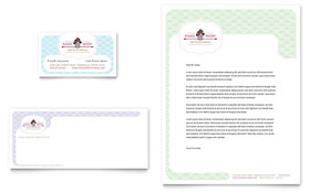 Bakery & Cupcake Shop - Business Card & Letterhead Template Design Sample