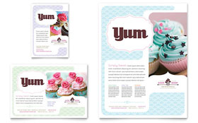 Bakery & Cupcake Shop - Flyer & Ad Template Design Sample