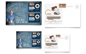 Coffee Shop - Postcard Template Design Sample