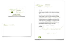 Garden & Landscape Design - Business Card & Letterhead Template Design Sample
