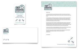 Pet Grooming Service - Business Card & Letterhead Template